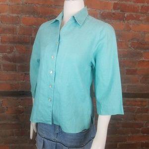 Orvis Women's Blouse Linen Turquoise 3/4 Sleeves